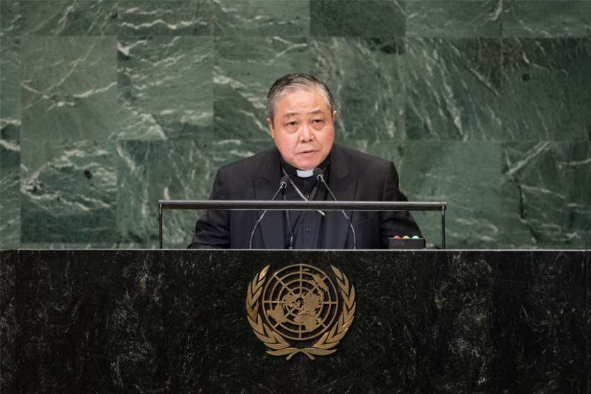 "Archbishop Bernardito Auza, the Vatican's permanent observer to the United Nations, is pictured speaking at the U.N headquarters in New York City Oct. 2, 2018. In an address at the U.N. June 24, 2019, Archbishop Auza called for fostering tolerance and inclusivity to counter terrorism and ""other acts of violence based on religion or belief."""