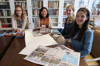 Kate Jamieson, right, participates in a photography workshop with fellow Youth Speak News writers Jacklyn Gilmor, Marie Gamboa and Mirjana Villaneuve at the YSN 2018 retreat.