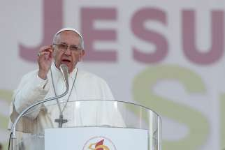 Pope Francis speaks during a Pentecost vigil marking the 50th anniversary of the Catholic Charismatic Renewal at the Circus Maximus in Rome June 3.
