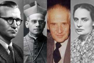 Pope Francis advanced the sainthood causes of six men and two women Feb. 27, including from left to right: Fr. Titus Zeman, Bishop Octavio Ortiz Arrieta, Pedro Herrero Rubio and Maria de la Mercedes Cabezas Terrero.