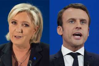 Marine Le Pen, left, and Emmanuel Macron, the two candidates who captured the most votes in the first round of France's presidential election, will face off against each other May 7.