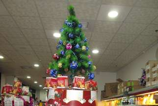 A Jerusalem store with a non-kosher clientele is decked out for Christmas. Although Hanukkah is the central winter holiday in most of Israel, Christmas is becoming more mainstream.