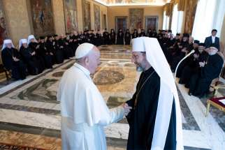 Pope Francis greets Archbishop Sviatoslav Shevchuk of Kyiv-Halych, head of the Ukrainian Catholic Church, at the Vatican Sept. 2, 2019. The 47 bishops from Ukrainian dioceses in Ukraine and 10 other nations, including the United States, Canada and Australia, met the pope during their synod in Rome.