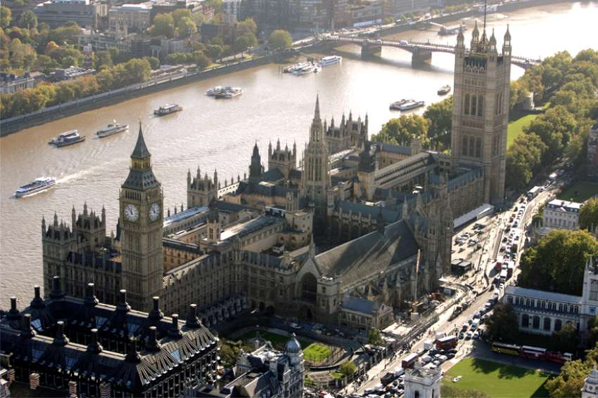 An aerial view of The Houses of Parliament in London.