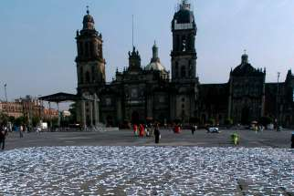 "In this 2008 file photo, thousands of crosses are placed in Zocalo Square in Mexico City to protest abortion. Lawmakers in the Mexican state of Veracruz have approved a state constitutional amendment banning abortion and ""defending life from the moment of conception until natural death."""