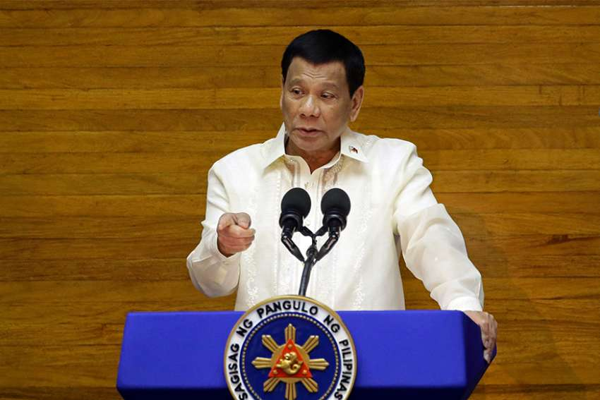 Philippine President Rodrigo Duterte delivers his State of the Nation address July 23 at the House of Representatives in Manila.