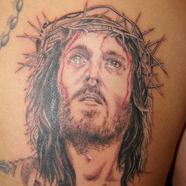 A tattoo of Jesus Christ's head done by Shawn Legrow which he submitted to the Northern Ink Xposure Tattoo Show earning his shop a booth during the weekend event in June.
