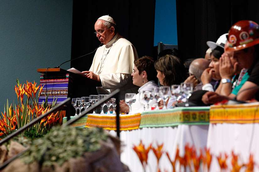 Pope Francis speaks at the second World Meeting of Popular Movements in Santa Cruz, Bolivia, July 9.