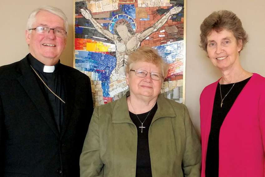 CCCB President Bishop Douglas Crosby, NAVFD president Sr. Mary Rowell and executive director Sr. Nancy Sullivan discuss how the survey's results will enhance NAVFD's 2018 conference in Hamilton, Ont.