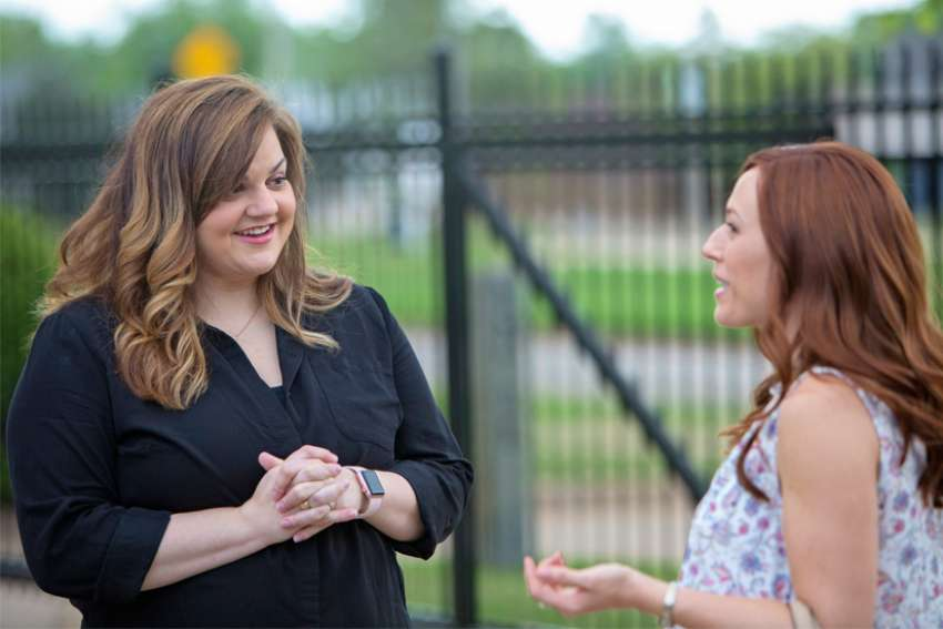 Abby Johnson, left, is seen on the set of the movie Unplanned with actress Ashley Bratcher, who plays her. The movie details the story of Johnson, a former Planned Parenthood administrator who quit that job to join the pro-life movement after her up-close interaction with abortion.