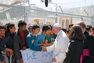 Pope Francis meets refugees at the Moria refugee camp on the island of Lesbos, Greece, April 16, 2016.