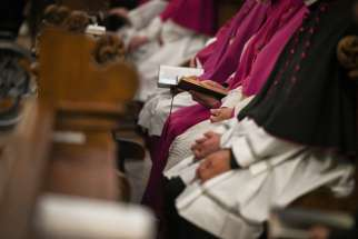 Prelates are seen during the plenary meeting of the German bishops' conference at the Fulda cathedral Sept. 26, 2019.