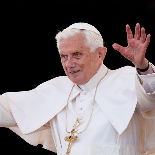 Pope Benedict XVI waves during his weekly audience in St. Peter's Square at the Vatican May 9.