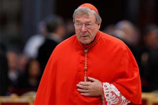 In this 2015 file photo, Australian Cardinal George Pell, prefect of the Vatican Secretariat for the Economy, is seen at the Vatican.