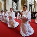 New priests of the Legionaries of Christ kneel during their ordination at the Basilica of St. John Lateran in Rome Dec. 14. Cardinal Velasio De Paolis, the papal delegate in charge of governing the Legionaries, ordained 31 new priests..