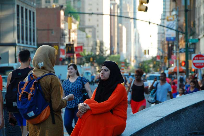 Two women at the Columbus Circle in New York City. Religious freedom advocates say that the incoming Trump administration should avoid the creation of a 'Muslim registry'