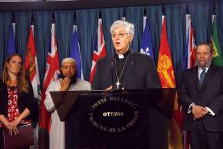 Valleyfield Bishop Noel Simard joined representatives of the Evangelical Christian, Jewish and Muslim faiths June 14 to call for a national palliative care strategy.