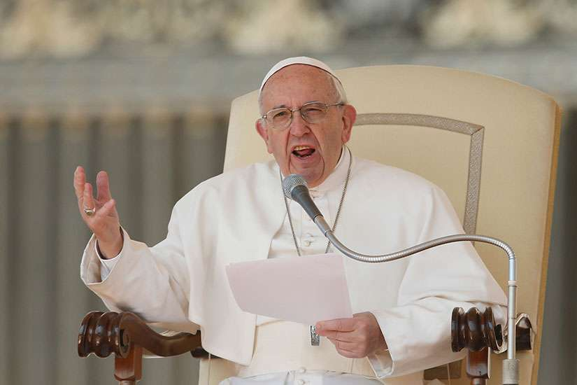Pope Francis speaks during his general audience in St. Peter's Square at the Vatican April 5.
