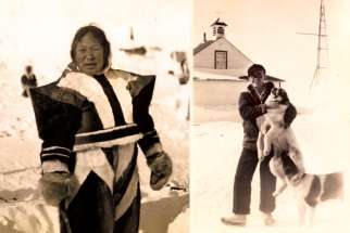 A French-speaking Oblate in the mid-1900s and Fr. Raymond de Coccola with sled dogs (left).