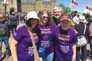 Kevin Dunn joins, from left, his wife Mary and daughters Therese-Marie and Christina on Parliament Hill for the annual National March for Life. Being pro-life is a family affair for the Dunns. Kevin dedicates much of his broadcasting work to the cause, with his sons as producers and camera operators. Two other daughters are also heavily involved in the pro-life movement.