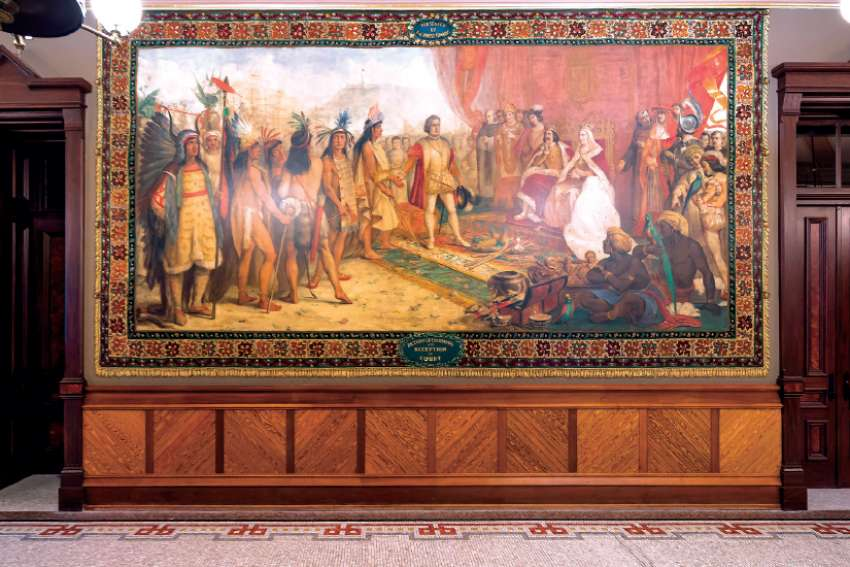 Murals by Luigi Gregori that adorn the ceremonial entrance to the University of Notre Dame's main building, depicting the life and exploration of Christopher Columbus, are to be covered.