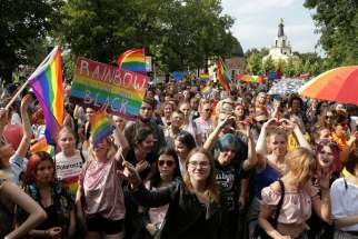 "Participants take part in the city's first ""Equality Parade"" rally in support of the LGBT community in Bialystok, Poland, July 20, 2019."