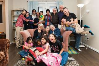 Dr. Nhung Tran-Davies (top left) and her family were sponsored by Our Lady of Mercy Parish in Enoch, Alta., when they escaped Vietnam in 1979. She has paid forward their favour some 40 years later by sponsoring the Alshablis, a Syrian refugee family. Her story of generosity will be highlighted in a film to be released by the UN this fall.