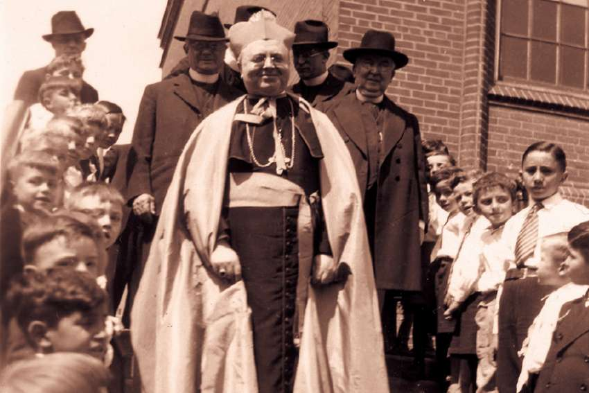 Archbishop James McGuigan at St. David's School in Toronto in 1939.