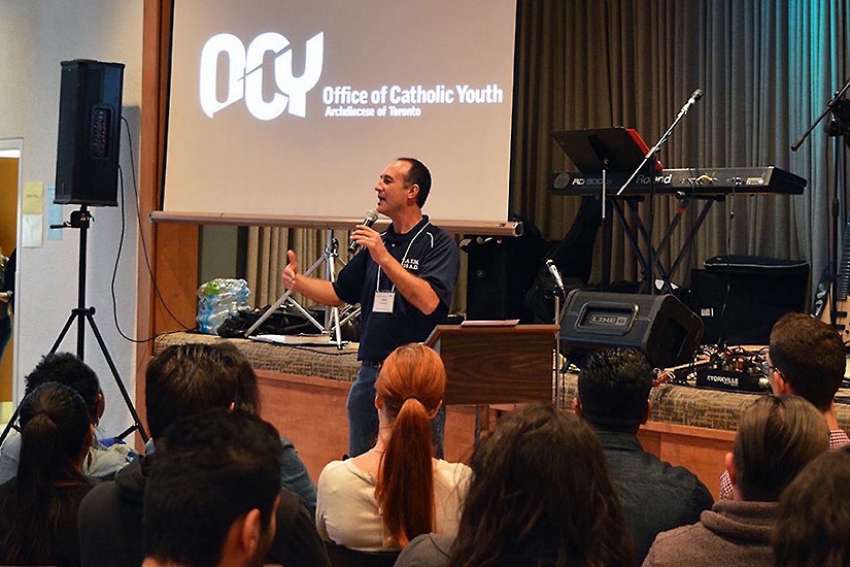 Office of Catholic Youth's associate director John MacMullen speaks at the 2015 Youth Ministers Training Day.