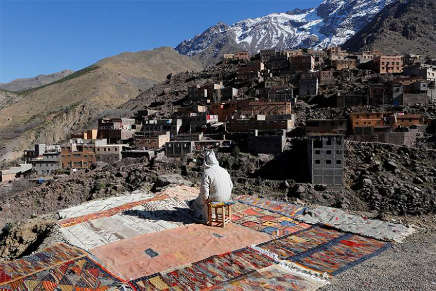 A man sits on his chair in a small village in the Toubkal region near Imlil, Morocco, Jan. 12, 2019. Pope Francis plans to visit Morocco March 30-31.