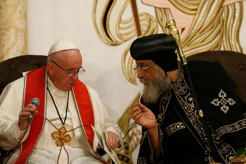 Pope Francis and Coptic Orthodox Pope Tawadros II attend an ecumenical prayer service at St. Peter's Church in Cairo April 28.