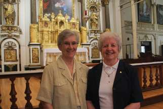 Sr. Lise Munro (left) and Sr. Helen Hayes in the chapel of their Quebec City convent. The complex (right) was built in 1686 and was once home to about 300 nuns.