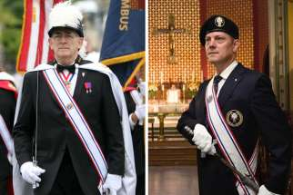 Left: current Knights of Columbus fourth degree regalia; Right: new proposed changes which, while retaining the sword and sash, eliminate the cape and plumed chapeau. The changes that were first adopted in 2017 finally take effect in Ontario on July 1.