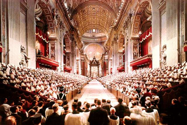 Pope John XXIII leads the opening session of the Second Vatican Council in St. Peter's Basilica at the Vatican Oct. 11, 1962. Blessed John XXIII felt the council was necessary to bring the Church into the modern world.