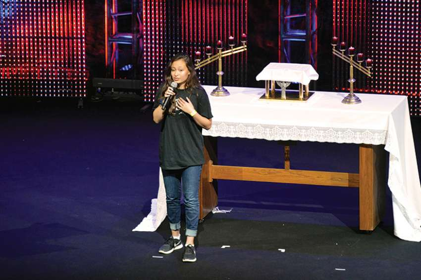 Caitlin McKee shares her testimony at this year's Steubenville Toronto youth conference at University of Ontario Institute of Technology in Oshawa.