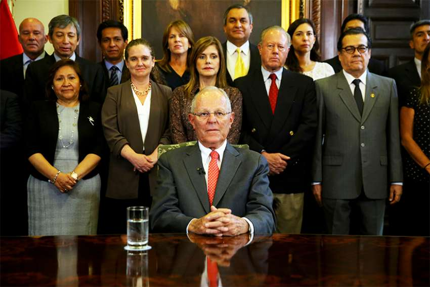 Peruvian President Pedro Pablo Kuczynski addresses the nation as he resigns March 21 at the Presidential Palace in Lima. Kuczynski offered his resignation to the country's congress, bowing to the mounting controversies that have been threatening his 19-month-old presidency.