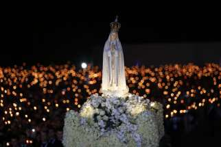Prayer vigil at the Shrine of Our Lady of Fatima in preparation for the 100th anniversary of the Fatima apparitions on May 12, 2017.