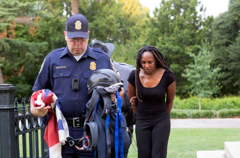 "Brittany ""Bree"" Newsome is arrested after the Confederate flag was removed from a pole at the Statehouse in Columbia, S.C., on June 27, 2015."