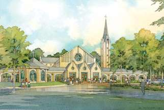 An artist's drawing of the church planned for St. André Bessette Parish in Maple, Ont.