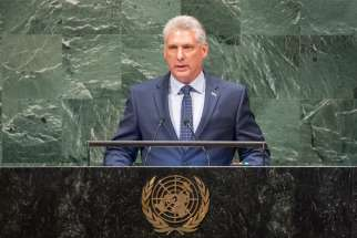 Cuban President Miguel Mario Diaz-Canel Bermudez speaks during the General Assembly's 73rd session at the U.N. headquarters in New York City Sept. 26, 2018. New York Cardinal Timothy M. Dolan is set to meet with Diaz-Canel during a Feb. 7-12, 2020, trip to the island nation, which includes a visit with the cardinal of Havana and other Cuban prelates.