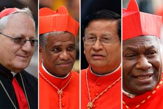 Pictured are four cardinals who have been appointed by Pope Francis to preside over sessions of the October 2018 Synod of Bishops on young people, the faith and vocational discernment. From left are Chaldean Catholic Patriarch Louis Sako of Baghdad, Iraq; Cardinal Desire Tsarahazana of Toamasina, Madagascar; Cardinal Charles Bo of Yangon, Myanmar; and Cardinal John Ribat of Port Moresby, Papua New Guinea.