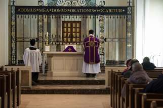 Mass in the Extraordinary Form being celebrated at Holy Family Catholic Church in Archdiocese of Toronto.