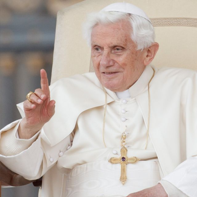 Pope Benedict XVI acknowledges pilgrims during his general audience in St. Peter's Square at the Vatican April 25.