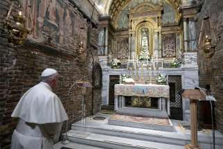 Pope Francis prays before a statue of Our Lady of Loreto at the Sanctuary of the Holy House on the feast of the Annunciation in Loreto, Italy, March 25, 2019. Pope Francis began the Jubilee Year of Our Lady of Loreto Dec. 8, 2019, and has extended the celebration to December 2021.