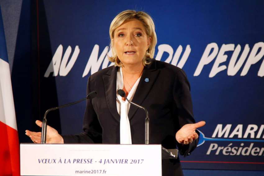 Marine Le Pen, French far-right National Front (FN) party president, member of European Parliament and candidate for French 2017 presidential election, speaks during a New Year wishes ceremony to the media in Paris, France, January 4, 2017.