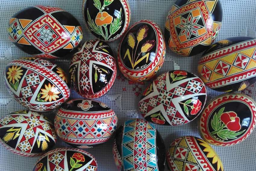 A collection of eggs decorated by French artist Irmã Marcia Nahirnei Smi, who was part of an online group learning the art.