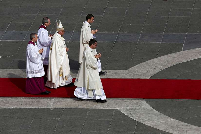 Pope Francis leads the Mass for a canonization in St. Peter's Square at the Vatican on Oct. 18, 2015.