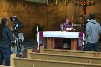 Cardinal Collins celebrates Mass for Daily TV Mass at the Loretto Abbey chapel in Toronto.