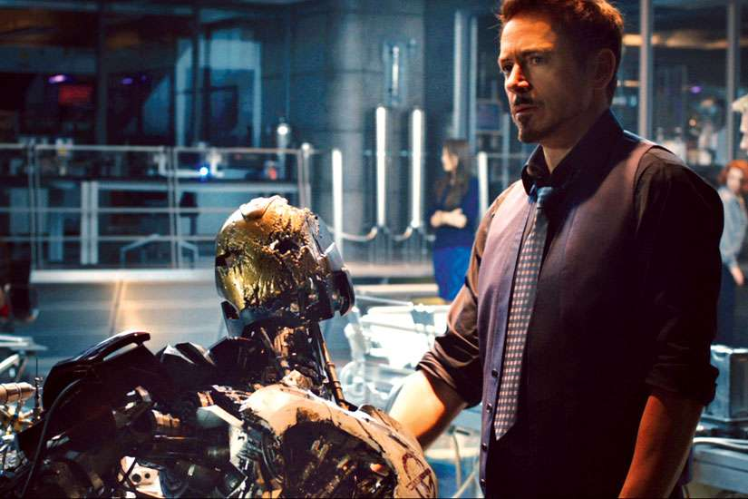 Robert Downey Jr. as Tony Stark (Iron Man) in a scene from the movie Avengers: Age of Ultron.