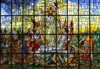 The stained-glass window depicting Christ's resurrection from Our Lady of Perpetual Help Chapel in Atlanta.